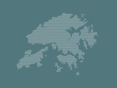Hong Kong vector map using white binary digits on dark background to mean digital country and the advancement of technology illustration 일러스트