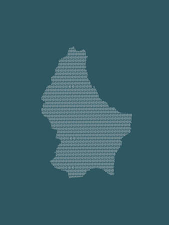 Luxembourg vector map using white binary digits on dark background to mean digital country and the advancement of technology illustration