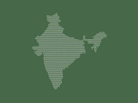 India vector map using white binary digits on dark background to mean digital country and the advancement of technology illustration