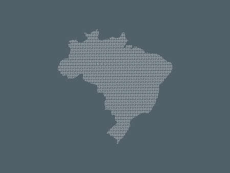 Brazil vector map using white binary digits on dark background to mean digital country and the advancement of technology illustration