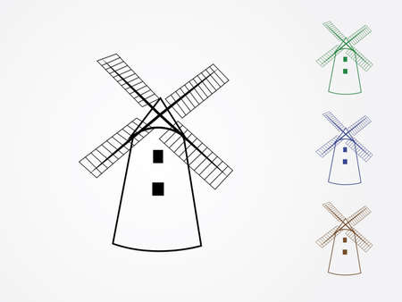 A set of colorful cool traditional windmill houses vector icons or logos in white background to mill grain illustration Ilustração