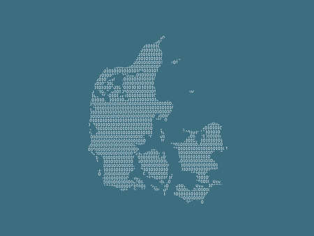 Denmark vector map using white binary digits on dark background to mean digital country and the advancement of technology illustration