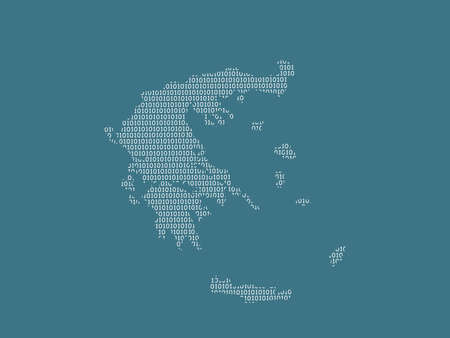 Greece vector map using white binary digits on dark background to mean digital country and the advancement of technology illustration