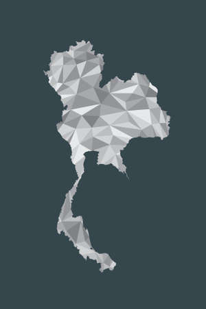 Low poly Thailand map vector of white color geometric shapes or triangles on black background illustration Standard-Bild - 138374676