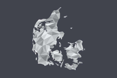Low poly Denmark map vector of white color geometric shapes or triangles on black background illustration Ilustrace