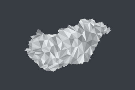 Low poly Hungary map vector of white color geometric shapes or triangles on black background illustration Illusztráció