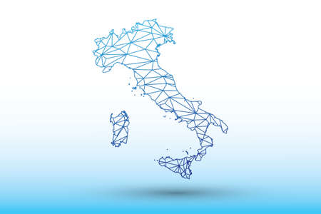 Italy map vector of blue color geometric connected lines using triangles on light background illustration meaning strong network