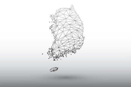 South Korea map vector of black color geometric connected lines using triangles on light background illustration meaning strong network