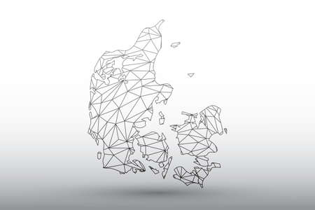 Denmark map vector of black color geometric connected lines using triangles on light background illustration meaning strong network