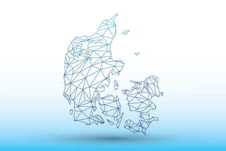 Denmark map vector of blue color geometric connected lines using triangles on light background illustration meaning strong network
