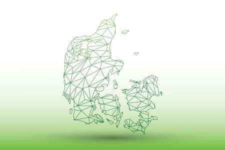 Denmark map vector of green color geometric connected lines using triangles on light background illustration meaning strong network