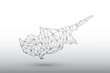 Cyprus map vector of black color geometric connected lines using triangles on light background illustration meaning strong network