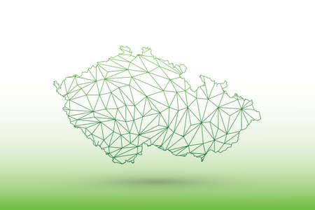 Czech Republic map vector of green color geometric connected lines using triangles on light background illustration meaning strong network