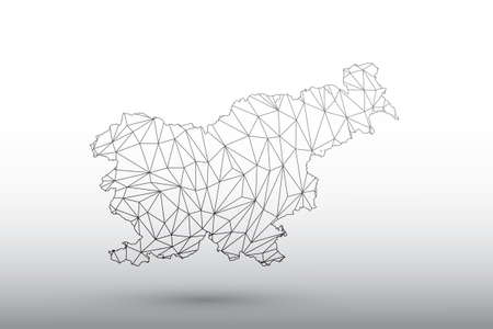 Slovenia map vector of black color geometric connected lines using triangles on light background illustration meaning strong network
