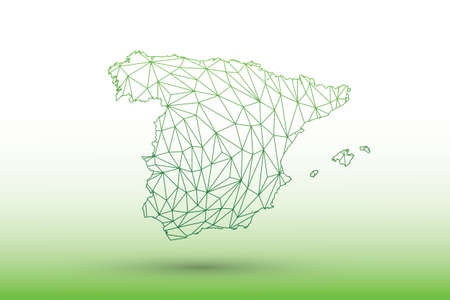 Spain map vector of green color geometric connected lines using triangles on light background illustration meaning strong network