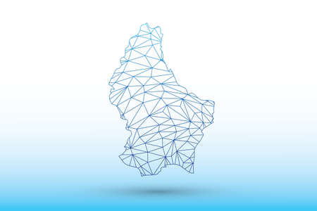 Luxembourg map vector of blue color geometric connected lines using triangles on light background illustration meaning strong network