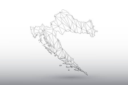 Croatia map vector of black color geometric connected lines using triangles on light background illustration meaning strong network 矢量图像