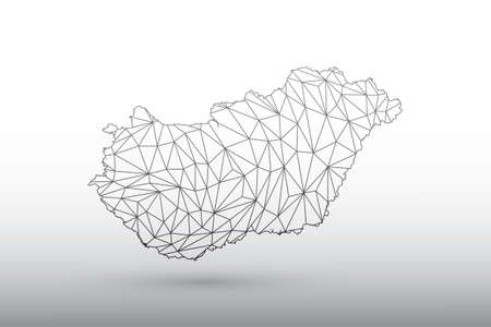 Hungary map vector of black color geometric connected lines using triangles on light background illustration meaning strong network