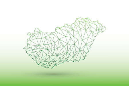 Hungary map vector of green color geometric connected lines using triangles on light background illustration meaning strong network 向量圖像