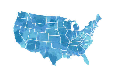 Watercolor USA map vector in blue painting color with borders of the states on white background illustration