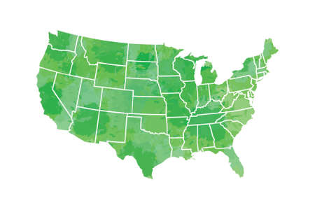 Watercolor USA map vector in green painting color with borders of the states on white background illustration