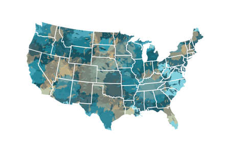 Painted watercolor USA map vector with borders of the states on white background illustration  イラスト・ベクター素材