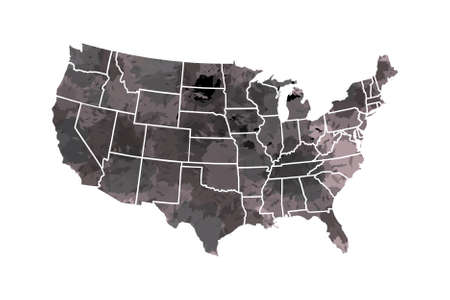 Watercolor USA map vector in black painting color with borders of the states on white background illustration  イラスト・ベクター素材