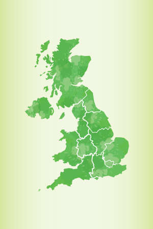 United Kingdom watercolor map vector illustration in green color on light background using paint brush on paper  イラスト・ベクター素材