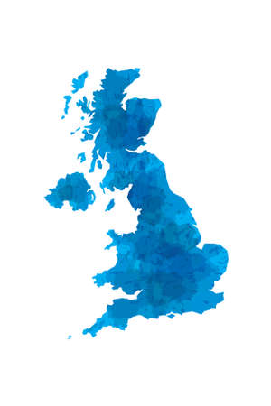 UK watercolor map vector illustration in blue color on white background using paint brush on paper