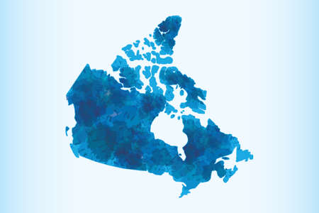 Canada watercolor map vector illustration in blue color on light background using paint brush on paper