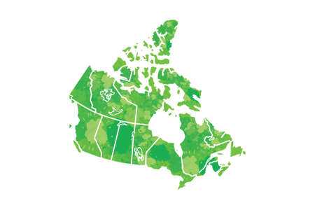 Canada watercolor map vector illustration in green color on white background using paint brush on paper page