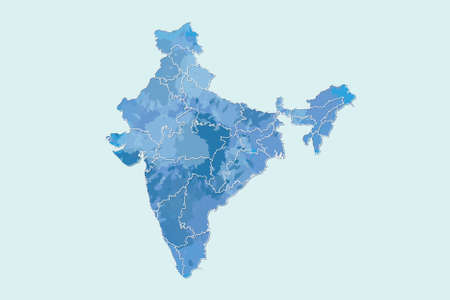 India watercolor map vector illustration in blue color with different regions or divisions on light background using paint brush on page