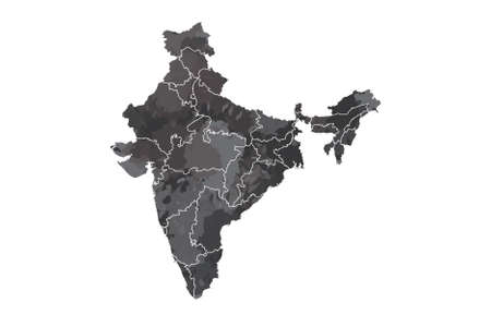 India watercolor map vector illustration in black color with different regions or divisions on white background using paint brush on page Standard-Bild - 138667892