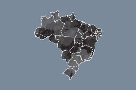 Brazil watercolor map vector illustration in black color with different regions on dark background using paint brush on page Standard-Bild - 138667900
