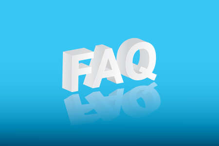 White color FAQ text vector illustration on blue background for asking questions about business and education