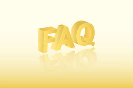 Golden color FAQ text vector illustration on light background for asking questions about business and education