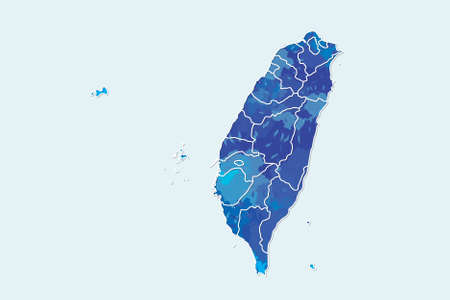 Taiwan watercolor map vector illustration of blue color with border lines of different counties on light background using paint brush in page Illustration
