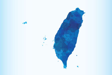 Taiwan watercolor map vector illustration of blue color on light background using paint brush in paper page
