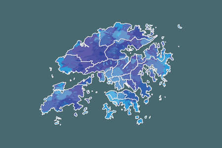 Hong Kong watercolor map vector illustration of blue color with border lines of different districts or divisions on dark background using paint brush in page