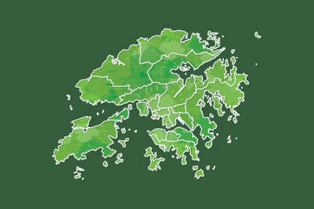Hong Kong watercolor map vector illustration of green color with border lines of different districts or divisions on dark background using paint brush in page