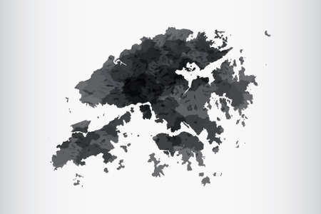Hong Kong watercolor map vector illustration of black color on light background using paint brush in paper page Illustration