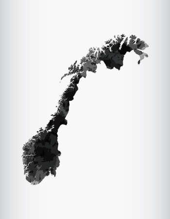 Norwegen Aquarell Karte Vektor-Illustration der schwarzen Farbe auf hellem Hintergrund mit Pinsel in Papierseite