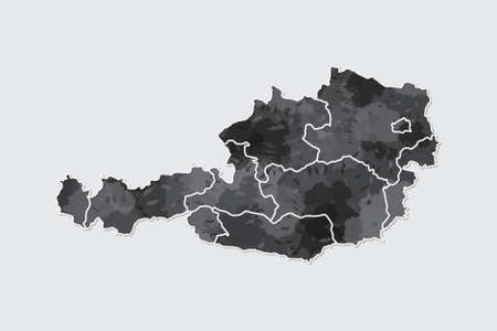 Austria watercolor map vector illustration of black color with border lines of different regions or states on light background using paint brush in page