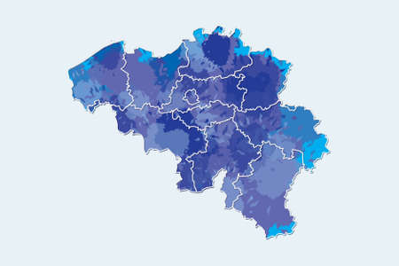 Belgium watercolor map vector illustration of blue color with border lines of different regions or provinces on light background using paint brush in page