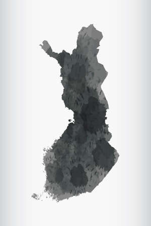 Finland watercolor map vector illustration of black color on light background using paint brush in paper page