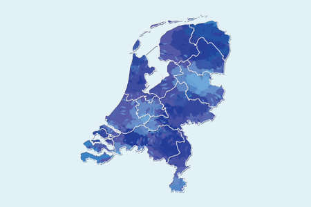 Netherlands watercolor map vector illustration of blue color with border lines of different regions or provinces on light background using paint brush in page