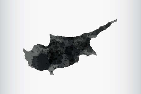 Cyprus watercolor map vector illustration of black color on light background using paint brush in paper page
