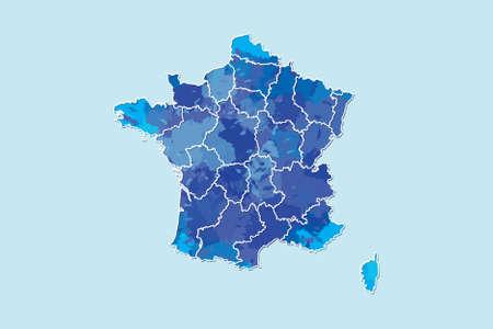 Frankreich Aquarell Karte Vektor-Illustration von blauer Farbe mit Grenzlinien verschiedener Regionen oder Provinzen auf hellem Hintergrund mit Pinsel in Seite