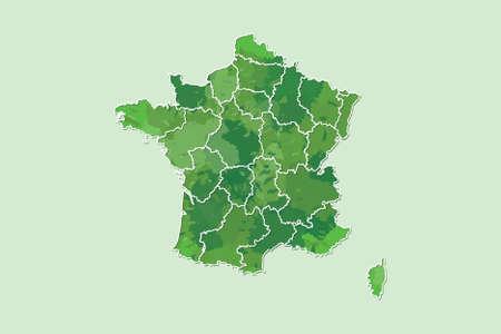 Frankreich Aquarell Karte Vektor-Illustration von grüner Farbe mit Grenzlinien verschiedener Regionen oder Provinzen auf hellem Hintergrund mit Pinsel in Seite