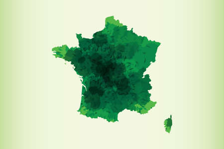 France watercolor map vector illustration of green color on light background using paint brush in paper page Illustration